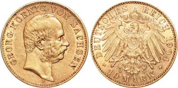 Germany 10 Marks GeOrg Sachsen 1904 E Or Gold AU