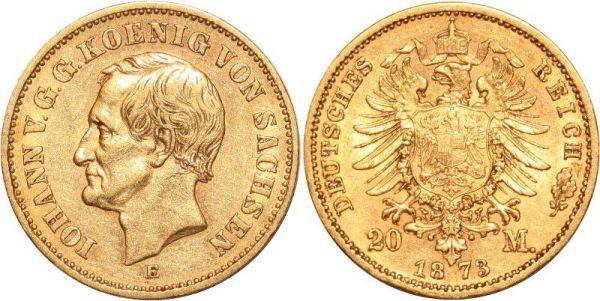 Germany 20 Marks Iohann V Sachsen 1873 E Or Gold AU