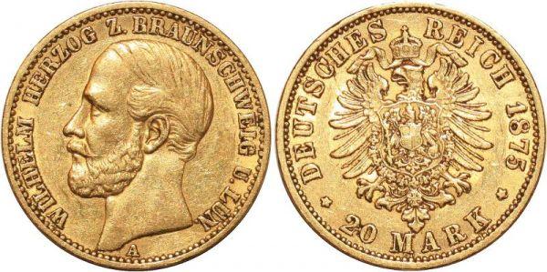 Germany 20 Marks Wilhelm Braunschweig Lüneburg 1875 A Or Gold