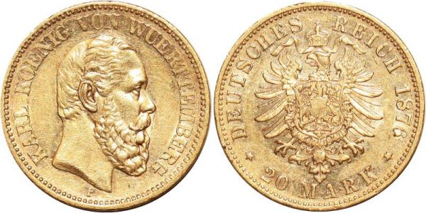 Germany 20 Marks Karl Wurttemberg 1876 F Or Gold UNC