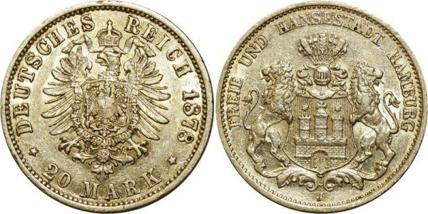 Germany 20 Mark Hansestadt Hamburg Preussen 1878 A Or Gold UNC