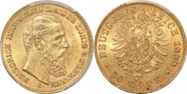Germany Preussen 20 Mark Friedrich III 1888 A Or Gold PCGS MS61