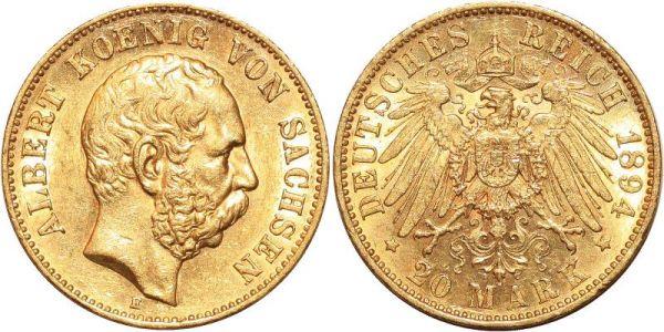 Germany 20 Marks Albert Sachsen 1894 E Or Gold UNC