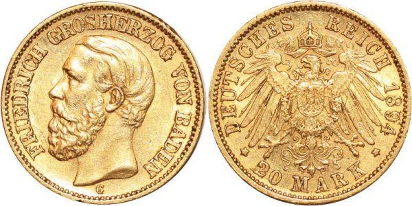 Germany 20 Marks Friedrich Baden 1894 G Or Gold AU