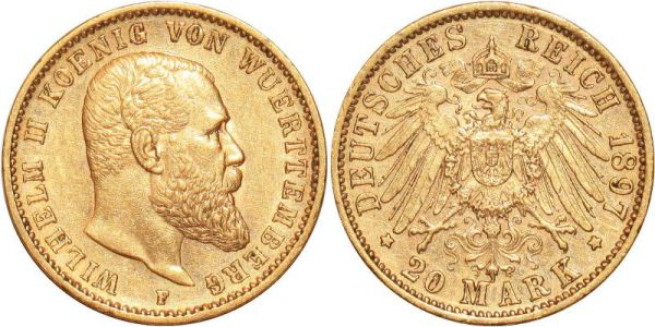 Germany 20 Marks Wilhelm II Wurttemberg 1897 F Or Gold UNC