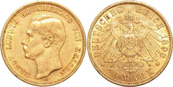 Germany 20 Marks Ernst Ludwig Hessen 1898 A Or Gold AU
