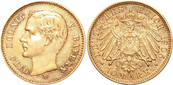Germany 10 Marks Otto Bayern 1905 D Or Gold AU