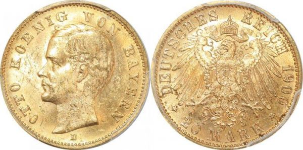 Germany Bavaria 20 Mark Otto Koenig 1900 D Or Gold PCGS MS62