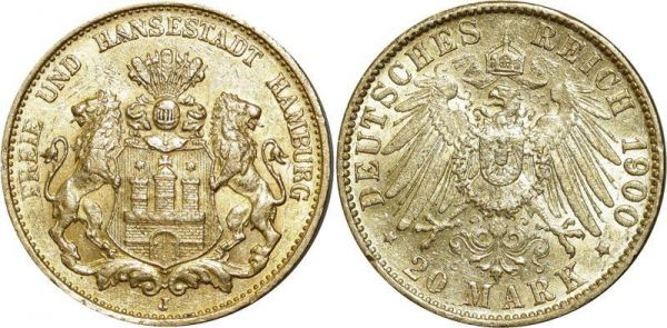 Germany 20 Mark Hansestadt Hamburg Preussen 1900 A Or Gold UNC