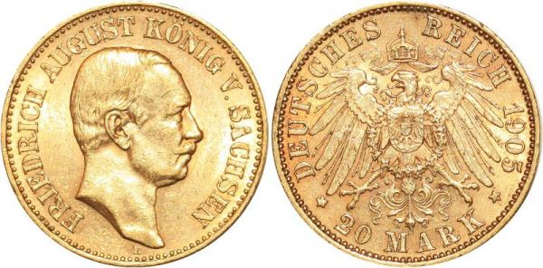Germany 20 Marks Friedrich Sachsen 1905 E Or Gold UNC