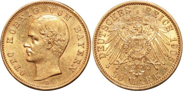 Germany 20 Marks Otto Bayern 1905 D Or Gold UNC