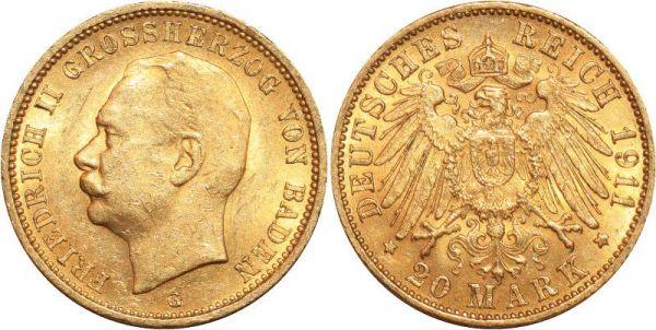 Germany 20 Marks Friedrich II Baden 1911 G Or Gold AUNC