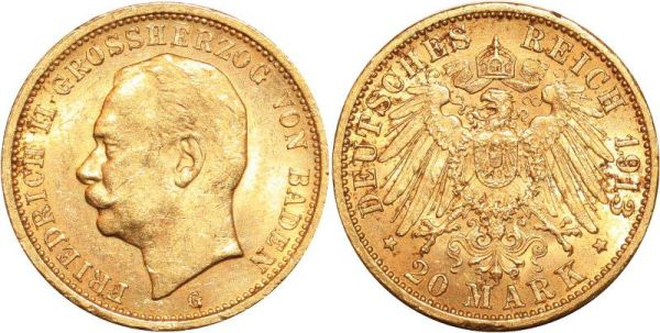 Germany 20 Marks Friedrich II Baden 1913 G Or Gold AUNC