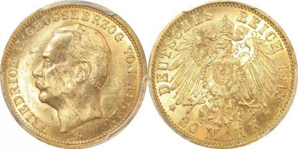 Germany Baden 20 Mark Friedrich II 1913 G Or Gold PCGS MS63
