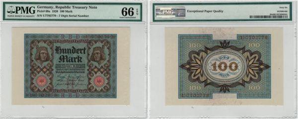 Germany 100 Mark 1920 Pick# 69a PMG 66 EPQ