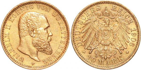 Germany 10 Marks Wilhelm II Wurttemberg 1906 F Or Gold UNC