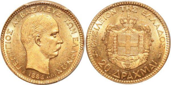 Greece 20 Drachmai George I 1884 Or Gold PCGS MS63