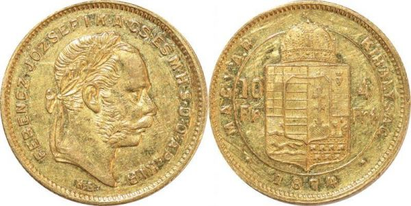 Hungary 10 Francs 4 Florins Franz Joseph I 1874 KB Kremnitz Or Gold AU