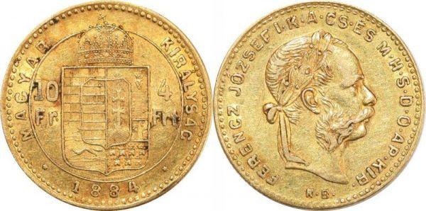 Hungary 10 Francs 4 Florins Franz Joseph I 1884 KB Kremnitz Or Gold AU