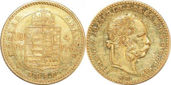 Hungary 10 Francs 4 Florins Franz Joseph I 1890 KB Kremnitz Or Gold AU