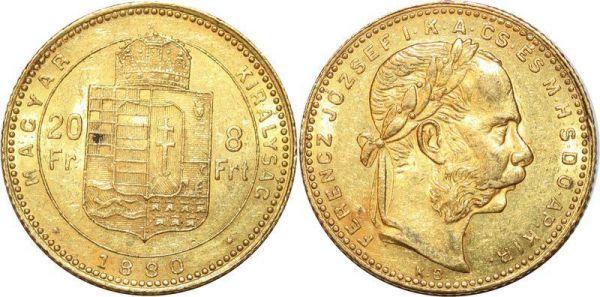 Hungary 8 Florins 20 Francs Franz Joseph 1880 Or Gold AU