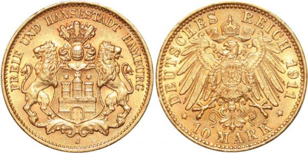 Germany 10 Marks 1911 J Hambourg Or Gold AU