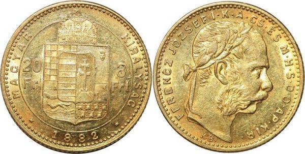Hungary 8 Florins 20 Francs Franz Joseph 1882 Or Gold UNC