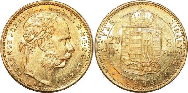 Hungary 8 Florins 20 Francs Franz Joseph 1884 Or Gold UNC