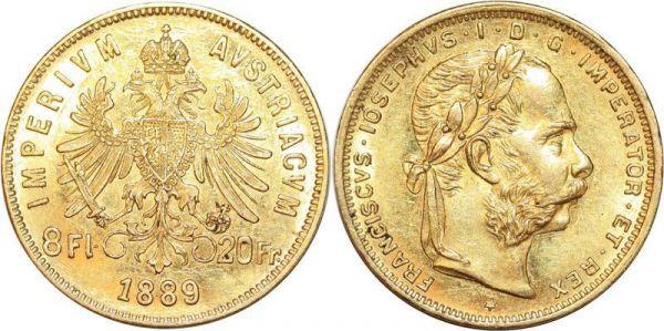 Hungary 8 Florins 20 Francs Franz Joseph 1889 Or Gold AU