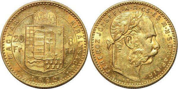 Hungary 8 Florins 20 Francs Franz Joseph 1890 Or Gold UNC
