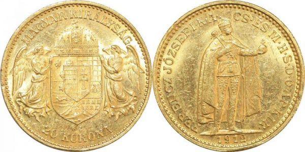 Hungary 20 Korona Franz Joseph I 1912 KB Kremnitz Or Gold UNC