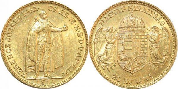Hungary 20 Korona Franz Joseph I 1914 KB Kremnitz Or Gold UNC