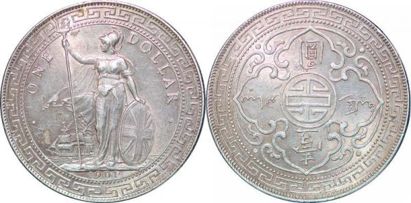 India One TRADE Dollar Bombay 1901 Argent Silver AU