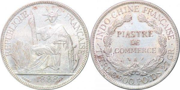 Indochina Date Piastre 1888 A Paris Silver AU UNC