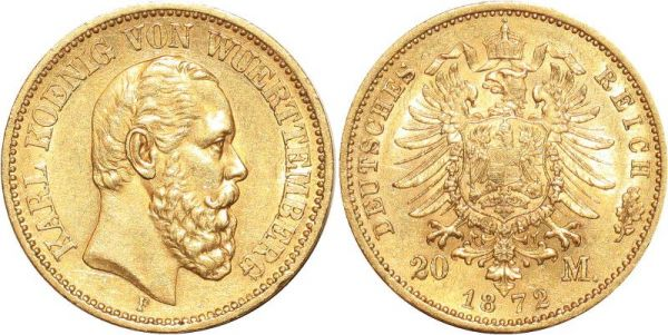 Germany 20 Marks Karl Wurttemberg 1872 F Or Gold UNC