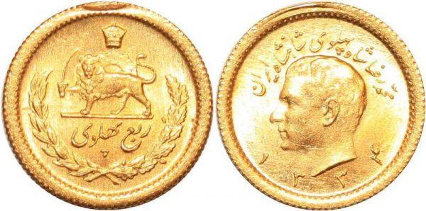Iran 1/4 Pahlavi  Muhammad Reza Pahlavi 1334 1955 Or Gold UNC