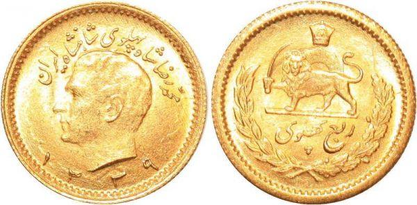 Iran 1/4 Pahlavi Muhammad Reza Pahlavi 1339 1960 Or Gold UNC