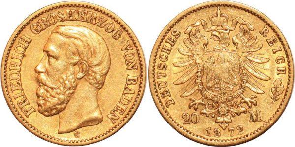 Germany 20 Marks Friedrich Baden 1872 G Or Gold AU