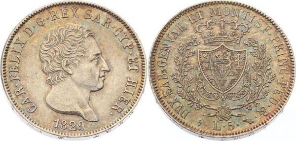 Italy 5 Lire Carlo Felice 1829 L Turin SUP ++
