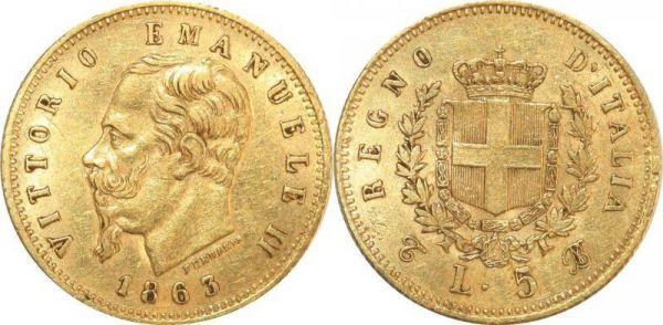 Italy 5 Lire Vittorio Emanuele II 1863 Turin Or Gold AU