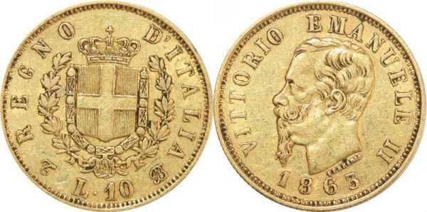 Italy 10 Lire Vittorio Emanuele II 1863 Turin Or Gold