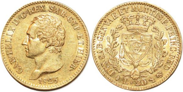 Italy Sardegna 20 Lire Karl Felix 1826 Turin Or Gold AU
