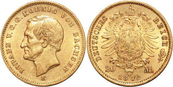 Germany 20 Marks Iohann V Sachsen 1872 E Or Gold AU