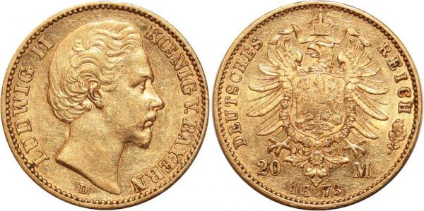 Germany 20 Marks Ludwig II Bayern 1873 D Or Gold AU