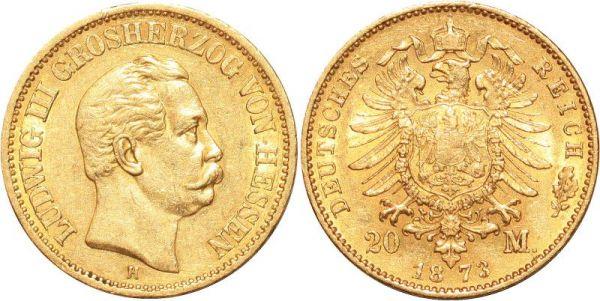 Germany 20 Marks Ludwig III Hessen 1873 H Or Gold AU
