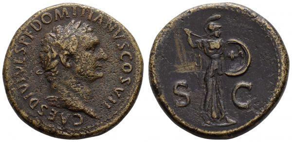 Römer Kaiserzeit Titus 79-81 Æ Sesterz 80/81 Rom für Domitianus, Av.: belorbeertes Haupt nach rechts, Rv.: Minerva schreitet mit Speer und Schild nach rechts  RIC 294 C 439 BMC 231 27.48 g. ss+