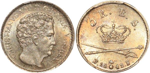Denmark Christian VIII 3 Rigsbankskilling 1842 K FF PCGS MS64 Argent