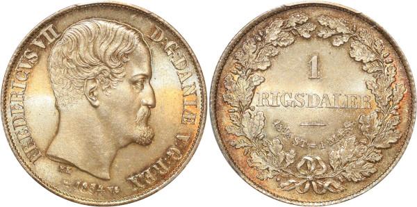 Denmark very rare finest 1 Rigsdaler Frederick VII 1854 PCGS MS65