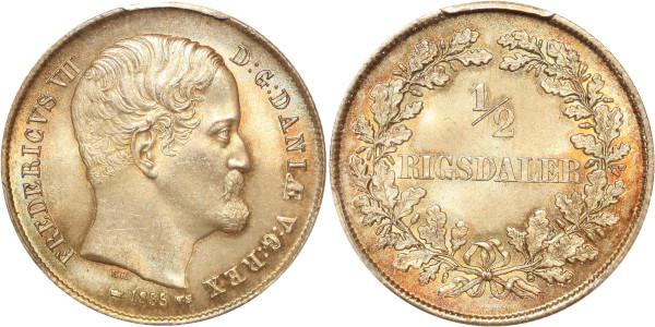 Denmark very rare finest 1/2 Rigsdaler Frederik VII Copenhagen 1855