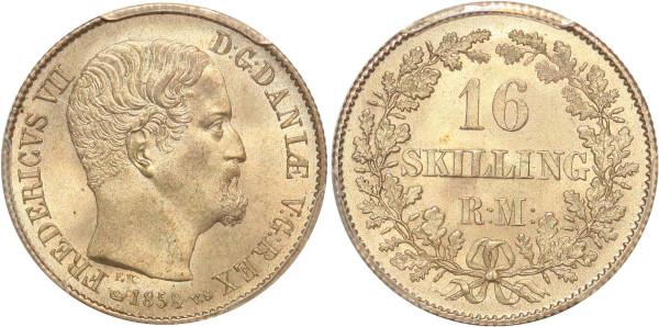 Denmark rare Frederik VII 16 Skilling Rigsmont 1858 FK-VS PCGS MS65 Silver